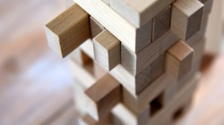 wooden game with blocks