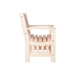 Wooden garden armchair isolated on white background side view