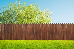 wooden garden fence at backyard and bloom tree in spring