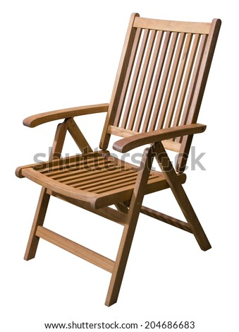 Wooden garden folding chair isolated on white, clipping path included