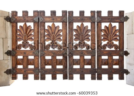 Wooden gate isolated on a white background