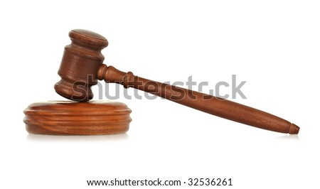wooden gavel against white, small reflection in front