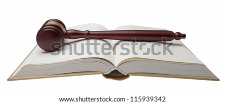 Wooden gavel and book