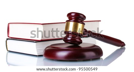 wooden gavel and books isolated on white