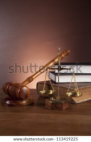 Wooden gavel and justice stuff