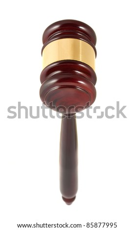 Wooden gavel closeup isolated on white background