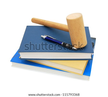 Wooden gavel from the court and law books isolated on white background.
