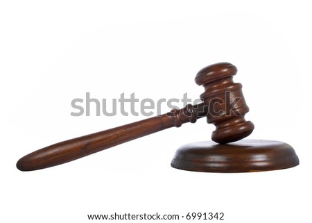 Wooden gavel from the court isolated on white background