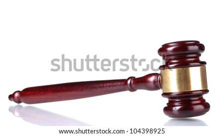 wooden gavel isolated on white