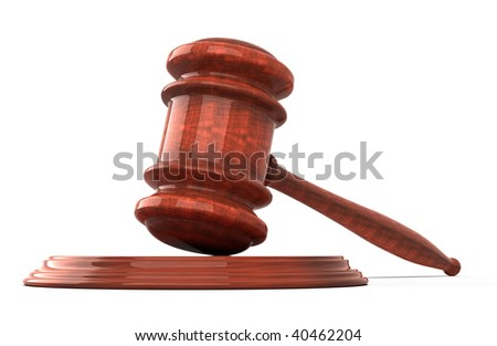 Wooden gavel  Isolated on white background - 3d render