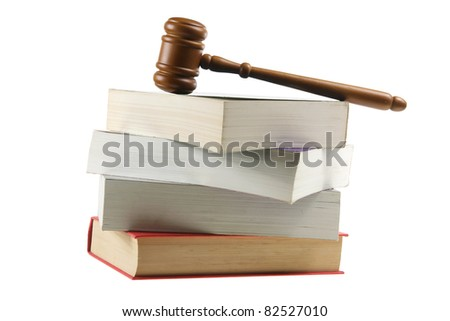 Wooden Gavel on Books with White Background