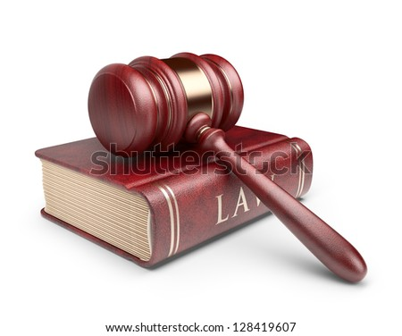 Wooden gavel with book. LAW concept. 3D Icon isolated