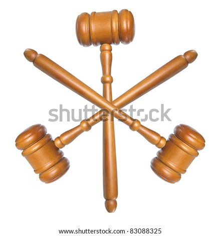 Wooden Gavels on White Background