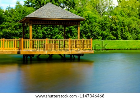 Wooden Gazebo on Lake
