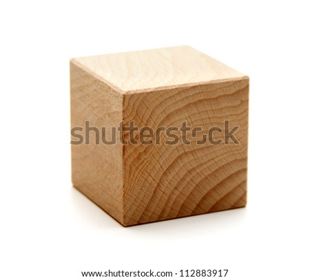 wooden geometric shapes cube  isolated on a white background Stock foto ©
