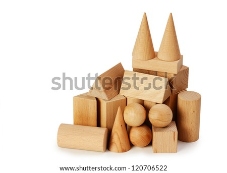 wooden geometric shapes  isolated on a white background