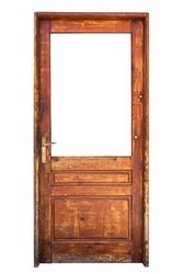 Wooden glazed door isolated on white