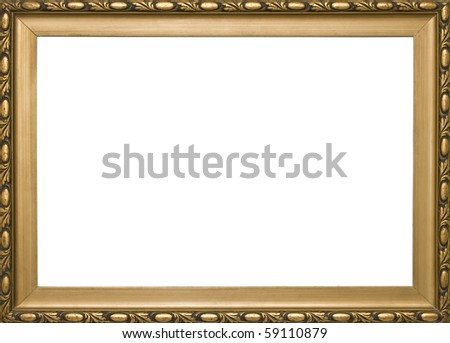 wooden golden classic frame on white background