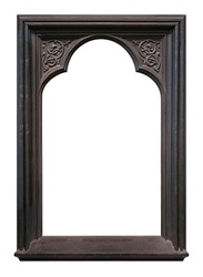 Wooden gothic frame for paintings, mirrors or photo isolated on white background. Design element with clipping path