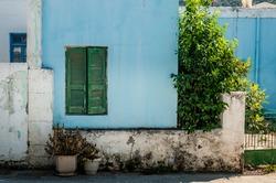wooden green window shutters in a blue wall with plants