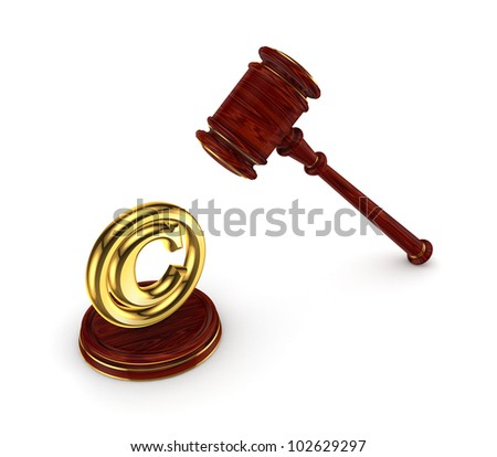 Wooden hammer and copyright symbol.Isolated on white background.3d rendered.