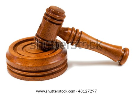 Wooden Hammer and Gavel on an Isolated White Background