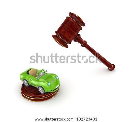 Wooden hammer and green car.Isolated on white background.3d rendered.