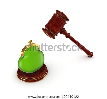 Wooden hammer and green purse.Isolated on white background.3d rendered.