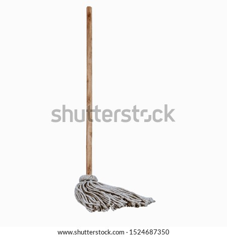 Wooden handle and mop standing white background clean full length single hygiene Stock foto ©