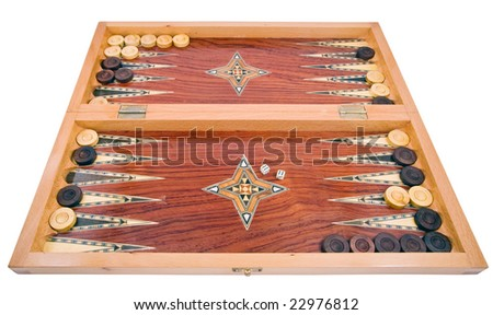 Wooden handmade backgammon board with chips and two dices on white background