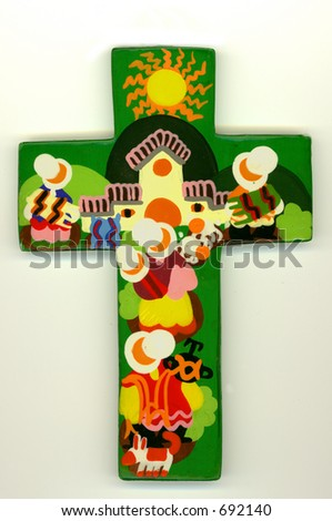 Wooden handmade coloured cross