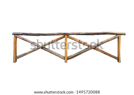 Wooden handmade rail isolated on white background