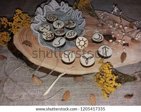 Wooden handmade witch runes #1205417335