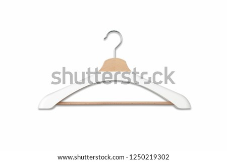 Wooden hanger for different clothes. Device for hanging shirts, trousers.High resolution photo.