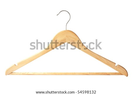 wooden hanger isolated - stock photo