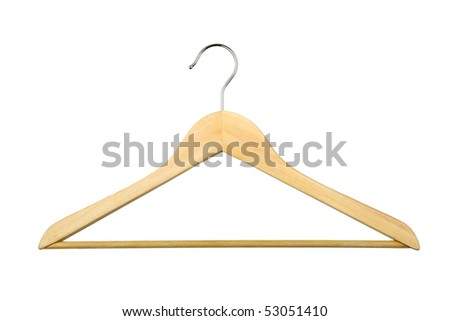 wooden hanger isolated over white background