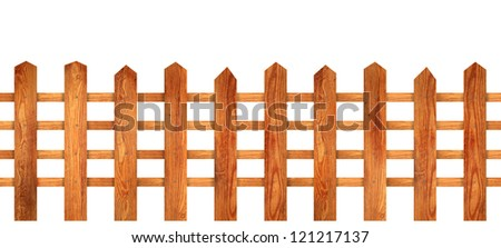 Wooden hash fence. Wood fence with natural wooden slats isolated over white background