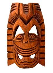Wooden Hawaiian mask of love isolated