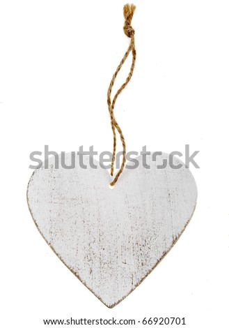 wooden heart sign valentines day with rope knot isolated on white