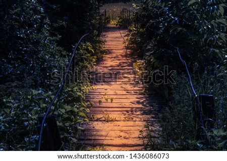 Wooden highlight footbridge at night in a fairy tale atmosphere. Pathway in the dark spooky forest in the moonlight. stock photo