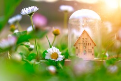 Wooden home model under glass dome around green grass and flowers background. Environmental awareness eco friendly concept, sunlight effect, soft selective focus. House building, sun heating system