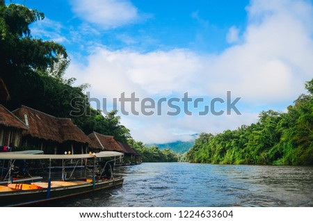 Wooden Home Stay Raft in Morning With Blue Sky Very Nice Amazing Place Relex With Nature In Kwai Noi River. Kanchanaburi, Thailand