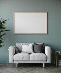Wooden Horizontal Frame Mock Up hanging on the Wall in Scandinav Living Room