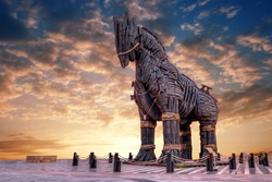 Wooden Horse view in Canakkale, Turkey. After the filming of the movie Troy,The wooden horse that was used as a prop was donated to the city of Canakkale