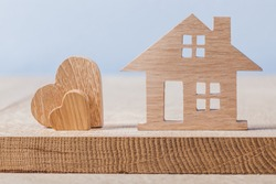 wooden house and heart toys