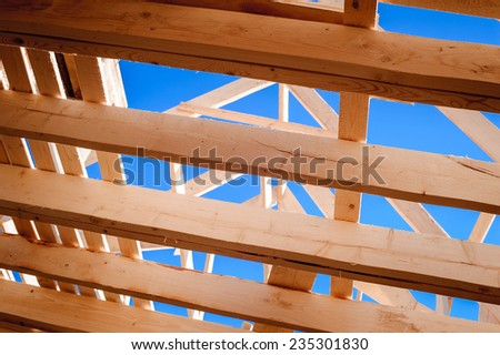 wooden house construction in progress