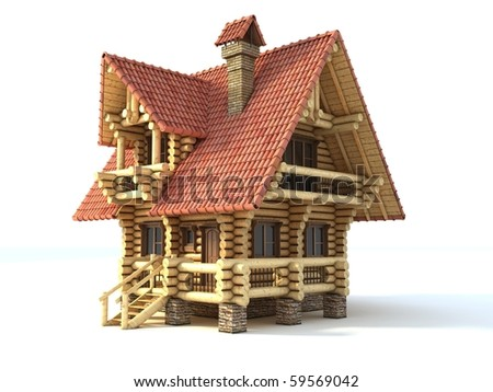 wooden house 3d illustration isolated on white