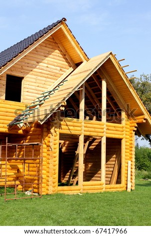 Wooden house during construction, architecture and technology