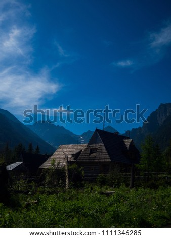 Wooden house in Alps #1111346285
