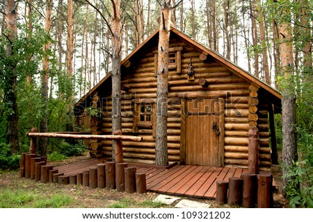 wooden house in the woods
